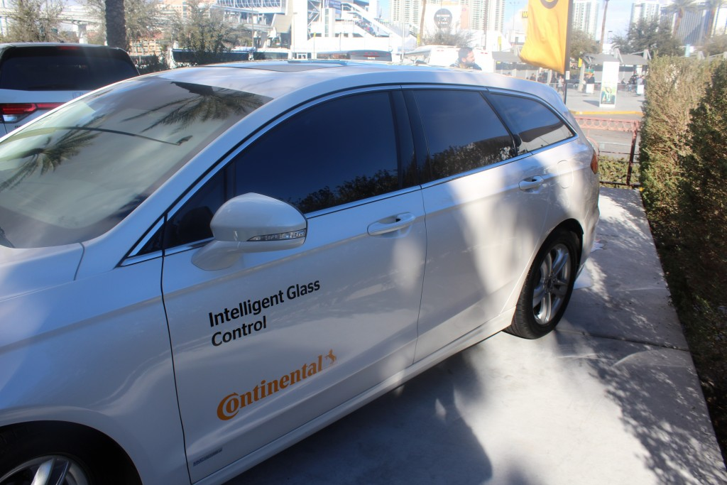 """Continental's """"Intelligent Glass Control"""" system on a Demonstration Vehicle at CES 2016 in Las Vegas, Nevada"""